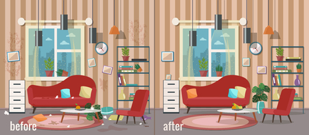 Living room before and after cleaning. Vector flat illustration.