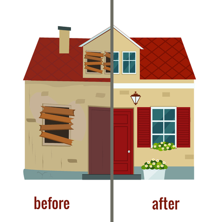 House before and after repair vector illustration. Flat design.