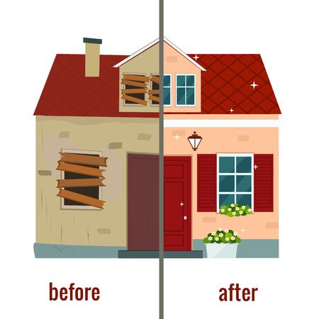 Dom przed i po naprawie ilustracji wektorowych. Płaska konstrukcja.