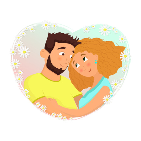 Man and woman in love. St. Valentine's day cartoon vector illustration.  イラスト・ベクター素材