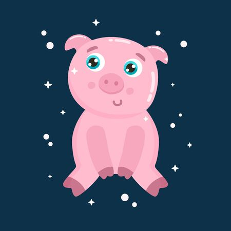 Cute pig vector illustration. Flat design.