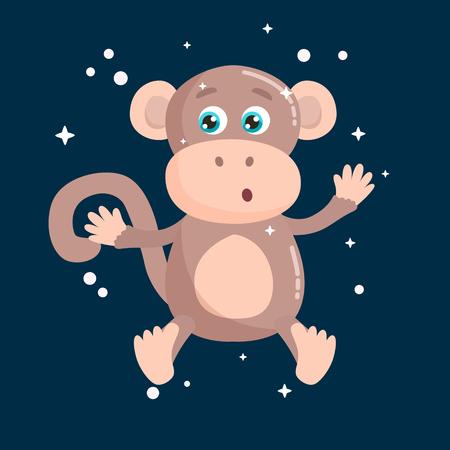 Cute monkey vector illustration. Flat design.