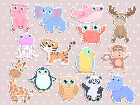Cute animal stickers vector set. Flat design. Illusztráció