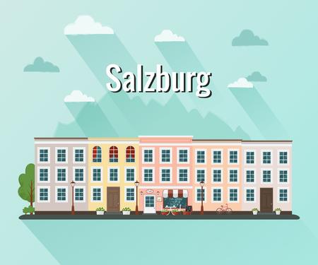 Salzburg Austria vector illustration. Flat design.