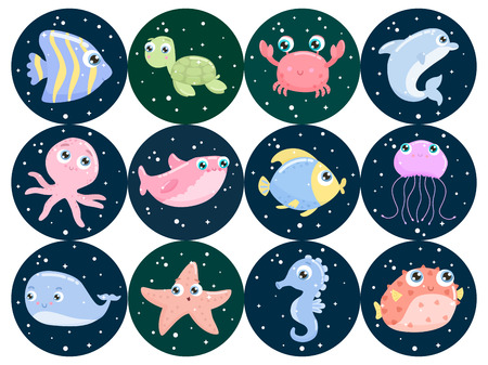 Cute sea animals. Flat design.