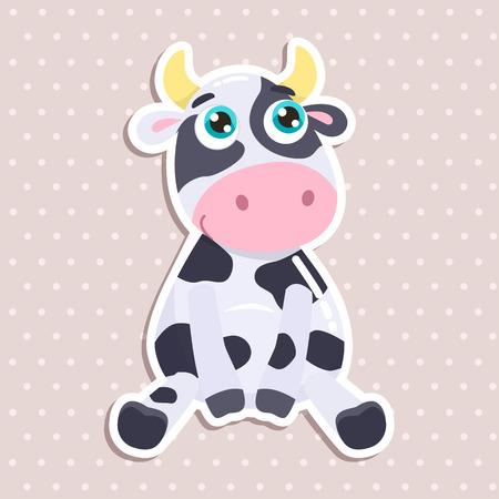 Cute cow sticker vector illustration.