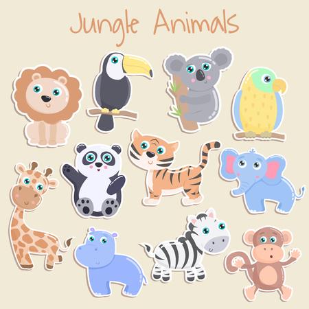 Adesivo simpatici animali della giungla. Design piatto.