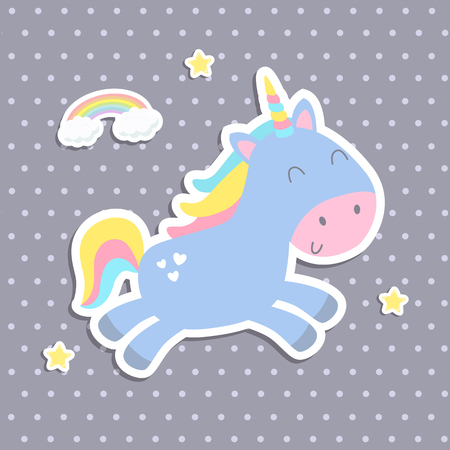 Cute unicorn sticker vector illustration. Flat design.