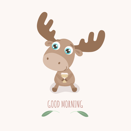 Good morning card with cute cartoon elk vector illustration.