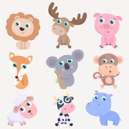 Cute animals set. Flat design Ilustração