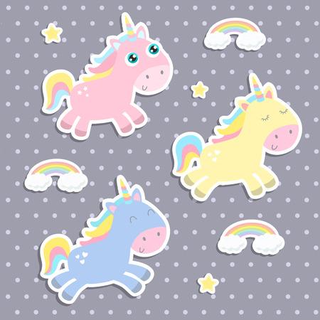 Cute unicorn stickers vector illustration. Flat design.