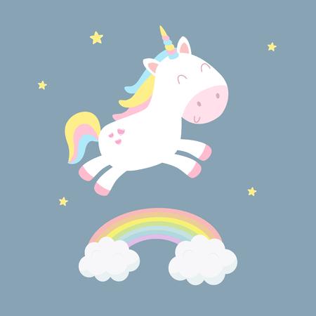 Ilustración de vector lindo unicornio. Diseño plano.