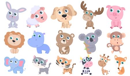 Set di simpatici animali. Design piatto