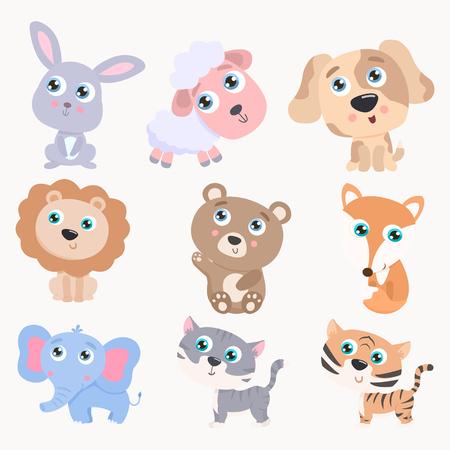 Cute animals set. Flat design Vettoriali