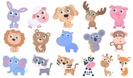Cute animals set. Stock Illustratie