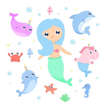 Magical creatures. Narwhal, unicorn mermaid,sea animals vector illustration Ilustracja