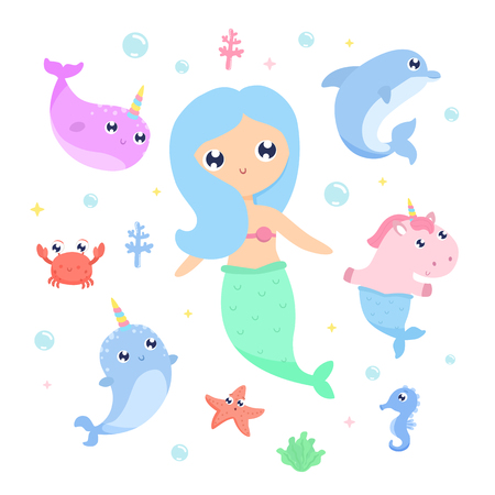 Magical creatures. Narwhal, unicorn mermaid,sea animals vector illustration Illustration