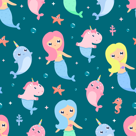 Mermaid seamless background Çizim