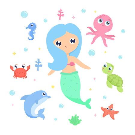 Mermaid with sea animals vector illustration
