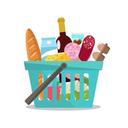 Grocery in a shopping basket. Vector illustration. Flat design. Vecteurs