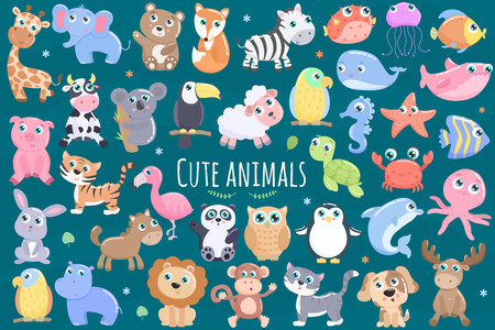 Cute animals set. Illustration