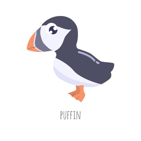Cute cartoon puffin vector illustration.