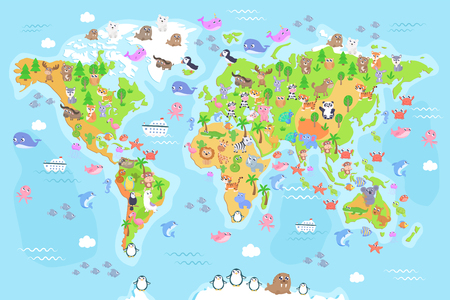 Vector illustration of world map with animals for kids. Flat design.
