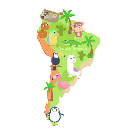 Map of South America with cartoon animals for kids. Flat design.