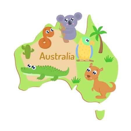 Mapa de Australia con animales de dibujos animados para niños.