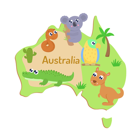 Map of Australia with cartoon animals for kids.
