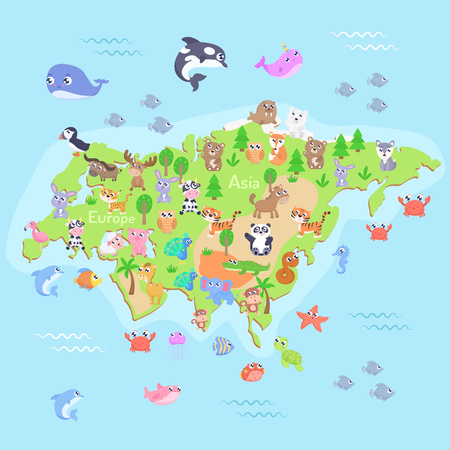 Map of Eurasia with cartoon animals for kids. Flat design.