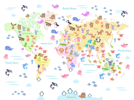 Vector illustration of world map with animals for kids. Flat design. Vettoriali