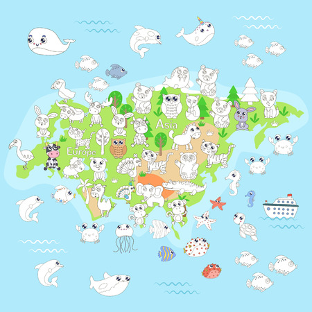 Coloring page with animal map of Eurasia for kids. Banque d'images - 114710555