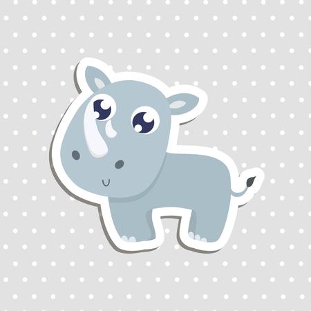 Cute rhinoceros sticker vector illustration. Vector illustration.