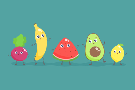 Cute cartoon fruits and vegetables. Vector flat illustration. Illustration