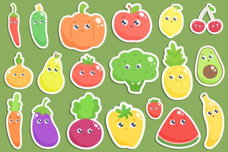 Set of cute cartoon fruits and vegetables stickers. Vector flat illustration.