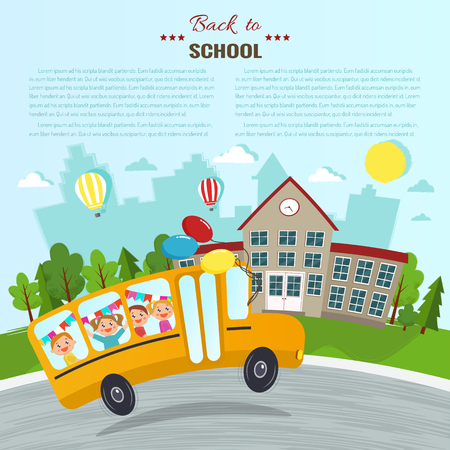 Welcome back to school vector illustration. School and school bus
