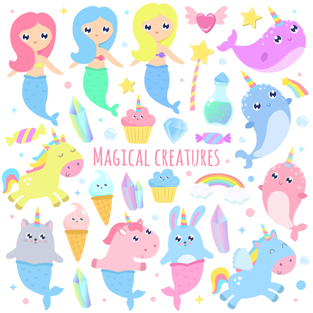 Magical creatures. Narwhal, unicorn mermaid,bunny mermaid, cat mermaid, pegasus, magical items vector illustration Ilustrace