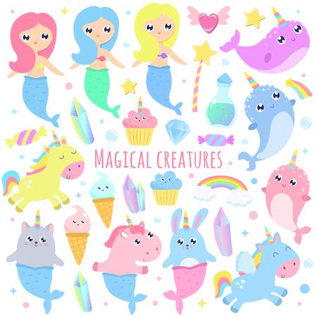 Magical creatures. Narwhal, unicorn mermaid,bunny mermaid, cat mermaid, pegasus, magical items vector illustration Illustration
