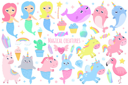 Magical creatures. Narwhal, unicorn mermaid,bunny mermaid, cat mermaid, pegasus, magical items vector illustration Фото со стока - 110130607