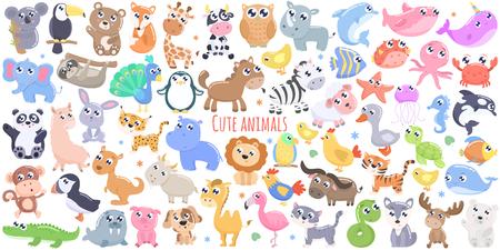 Animales de dibujos animados lindo. diseño plano