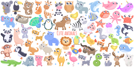 Cute cartoon animals. flat design 矢量图像