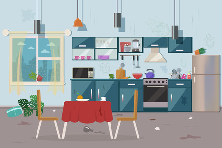 Dirty messy kitchen vector illustration. 스톡 콘텐츠 - 112045931