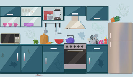 Dirty messy kitchen vector illustration.