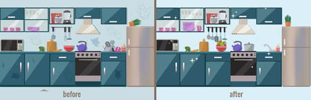 Kitchen before and after cleaning vector flat illustration. 版權商用圖片 - 106303077