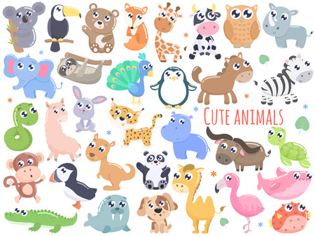Big set of cute cartoon animals  vector illustration. Flat design. Ilustração