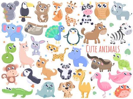 Gran conjunto de ilustración de vector de animales de dibujos animados lindo. Diseño plano.