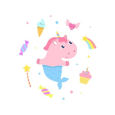 Cute unicorn mermaid and magical items vector illustration. Illustration