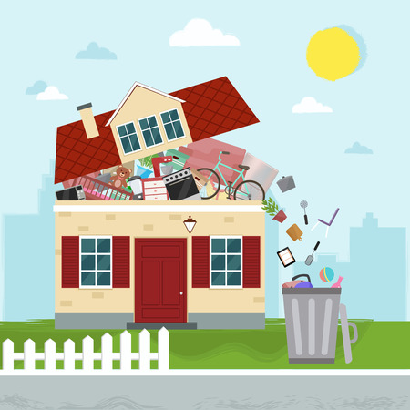 The concept of excessive consumerism. House bursting of stuff. Throwing away things from house. Vector illustration.
