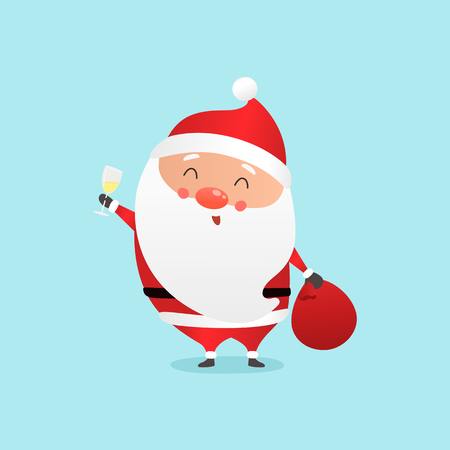 Cute cartoon Sata Claus with big sack of presents and glass of champagne vector illustration.
